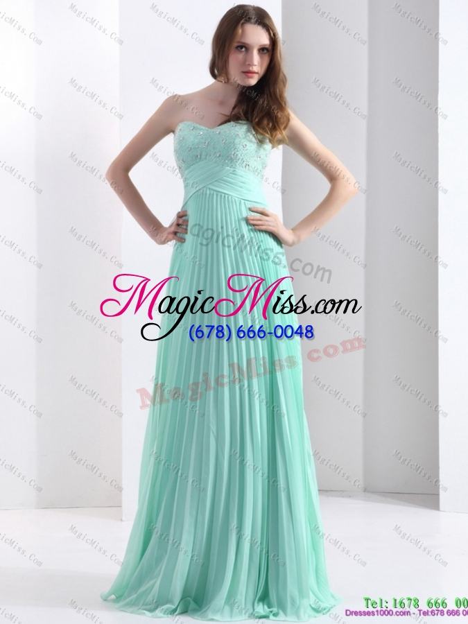 wholesale 2015 brush train apple green prom dress with beading and pleats