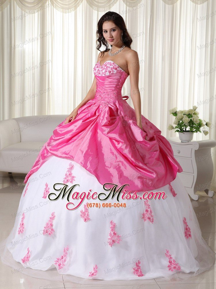 Pink And White Ball Gown Sweetheart Floor-length Taffeta Appliques ...
