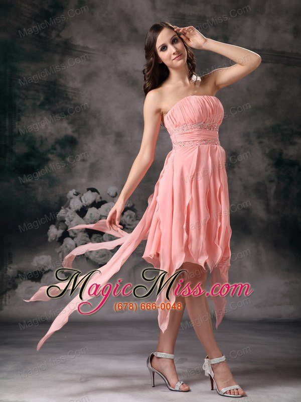 Perfect Peach Knee Length Short Prom Dress Strapless Chiffon Us12406