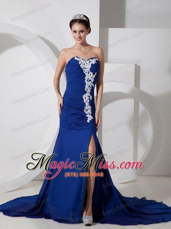 Best Peacock Blue Chiffon Sweetheart Prom