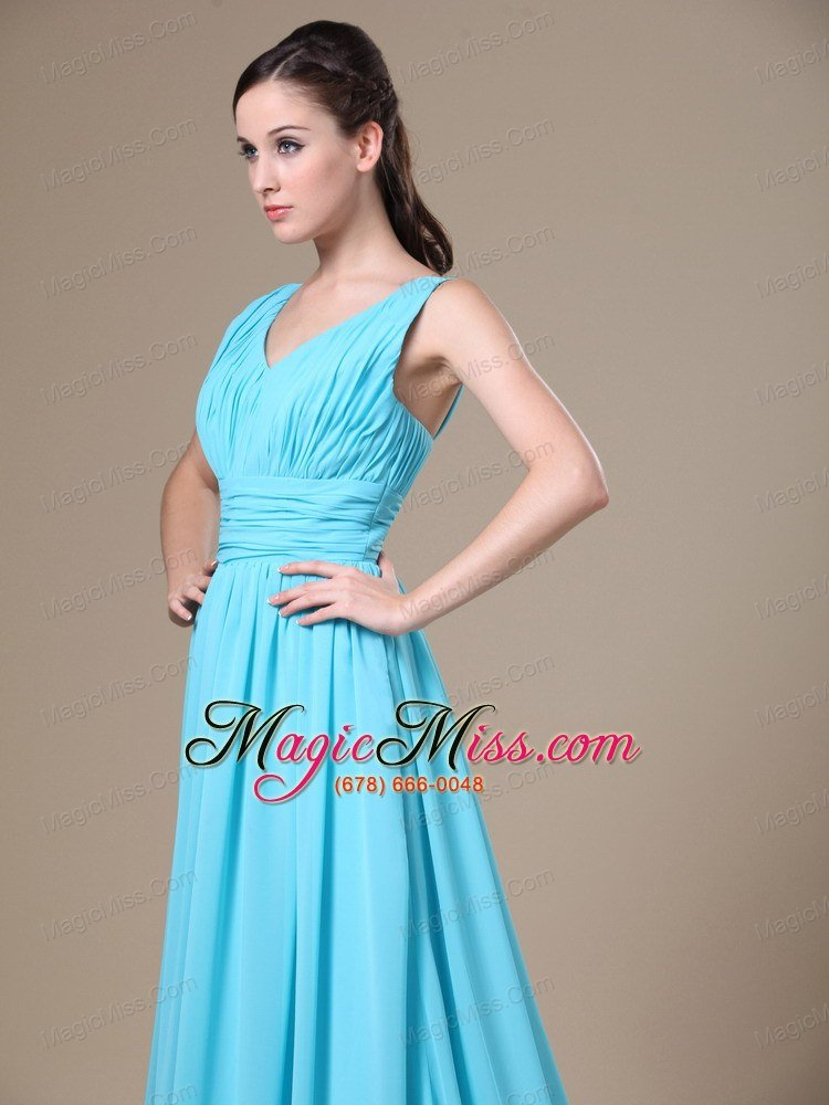 Aqua Blue V-neck and Ruched Bodice For Modest Prom Dress In Salt ...