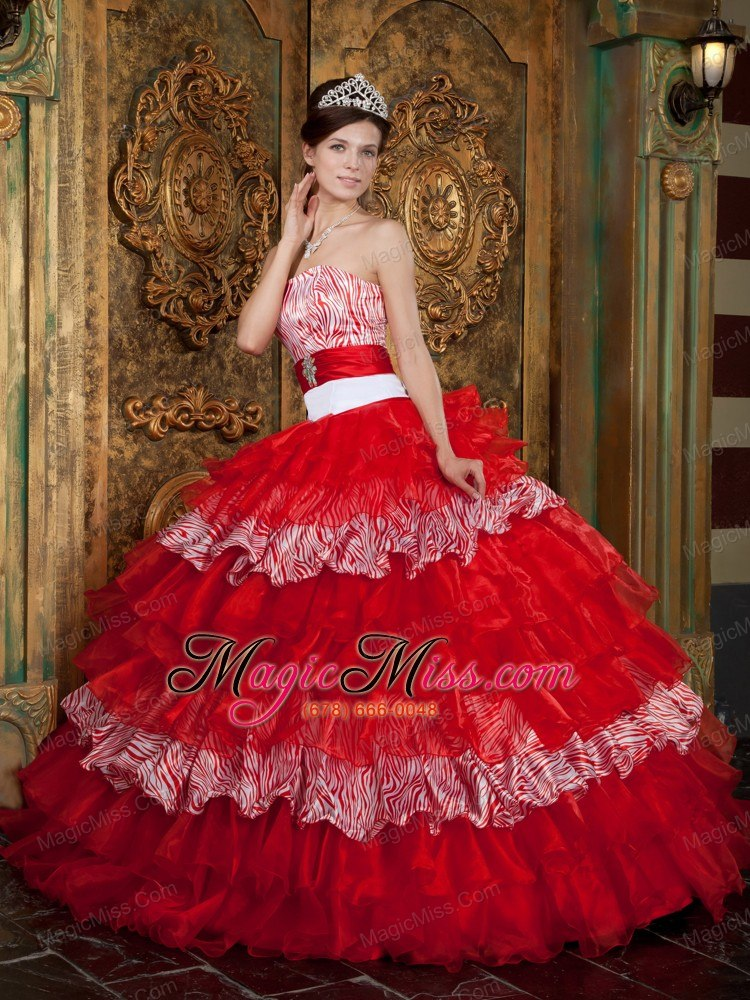 3cf75a10ed wholesale red ball gown strapless floor-length organza and zebra ruffles  quinceanera dress ...