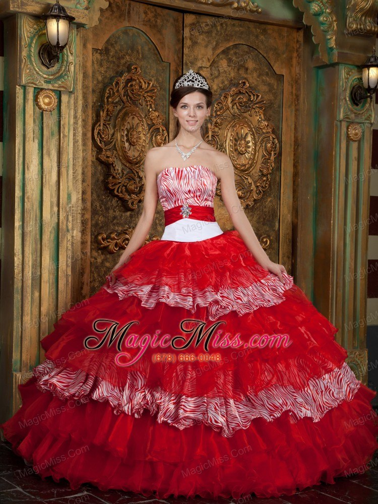 5054e043a1 ... wholesale red ball gown strapless floor-length organza and zebra  ruffles quinceanera dress ...