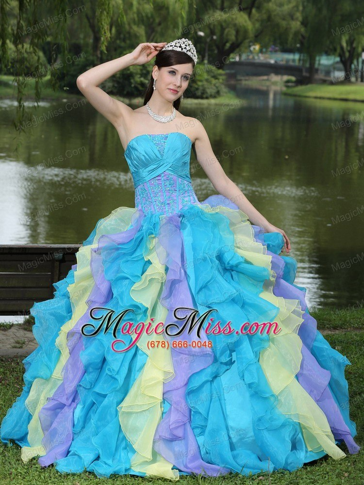Sweet Appliques Ruffles Layered Colorful Quinceanera Dress Wear For ...