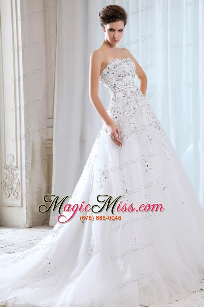 wholesale sweet a-line strapless court train tulle beading wedding dress