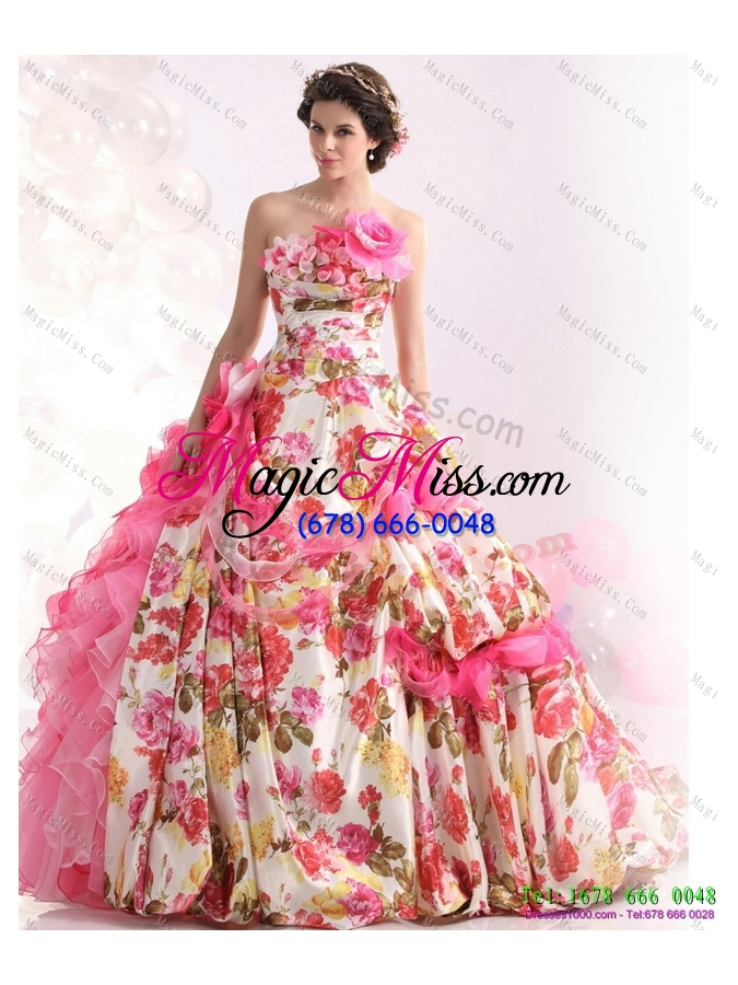Delightful Wholesale 2015 Ruffles Multi Colour Wedding Dresses With Brush Train And  Hand Made Flowers ...