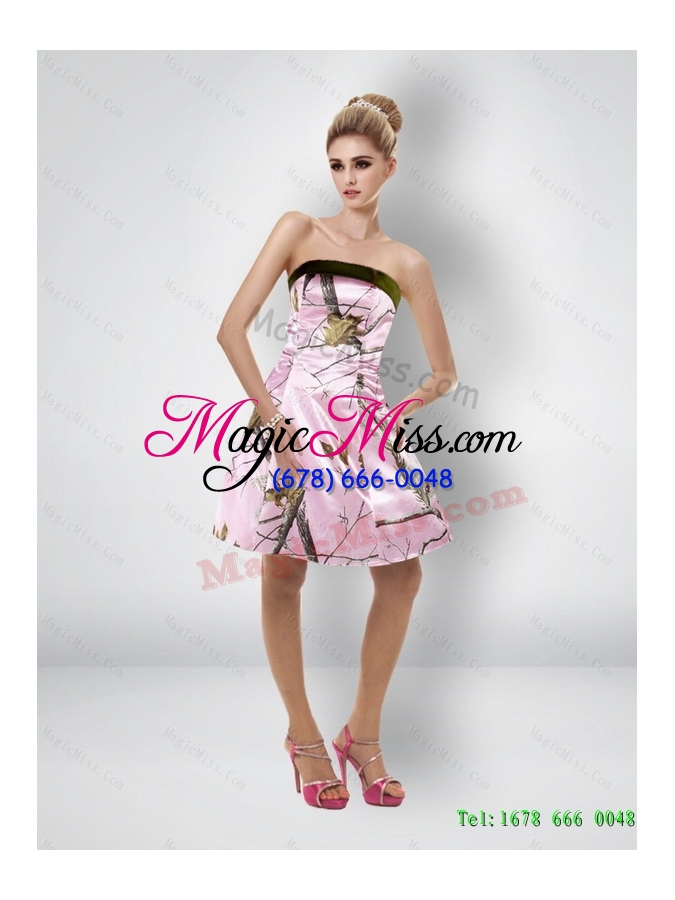 Sexy Short Strapless Baby Pink Camo Prom Dresses Us9562
