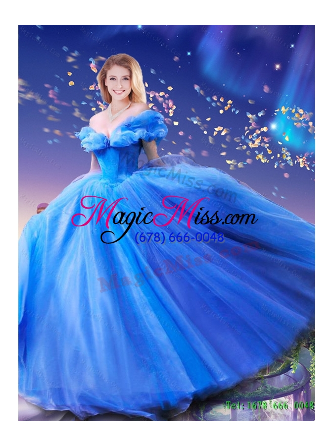 wholesale 2015 summer elegant hand made flowers cinderella quinceanera dresses in blue