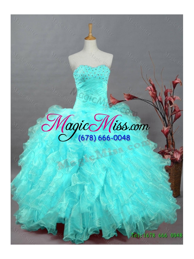 wholesale 2015 pretty sweetheart beaded quinceanera dresses in organza