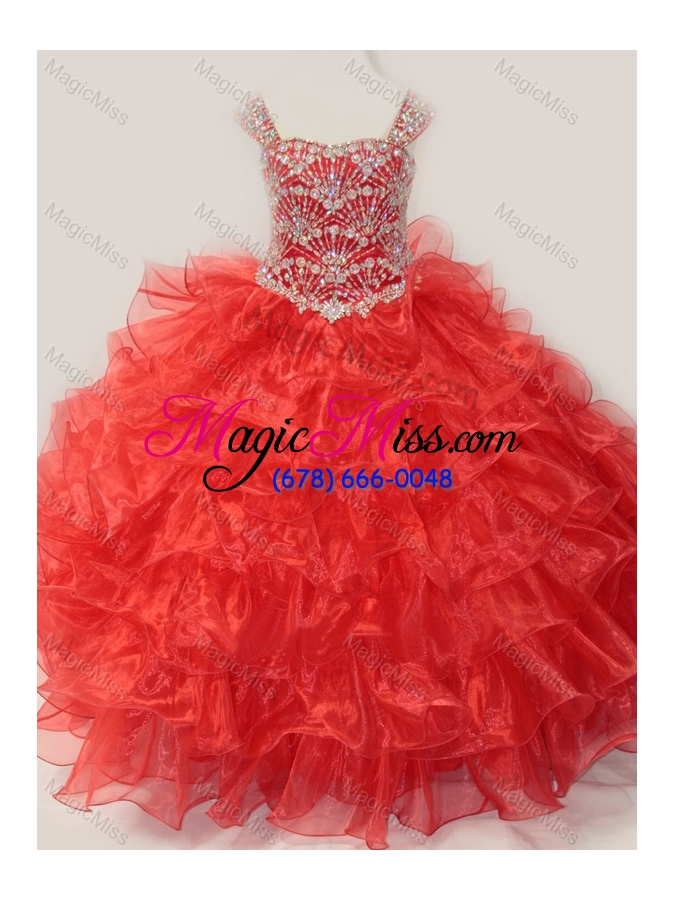wholesale ball gown straps organza beaded bodice lace up little girl pageant dress in red
