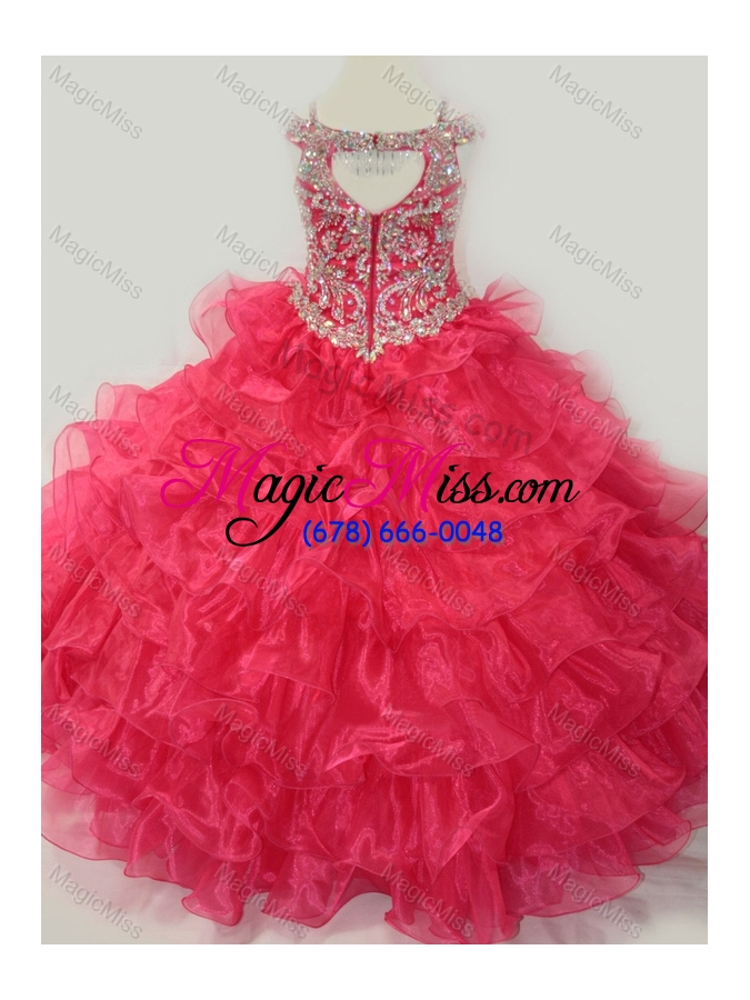 8a4abca1338 ... wholesale cute ball gown coral red beading and ruffled layers mini  quinceanera dress with straps and