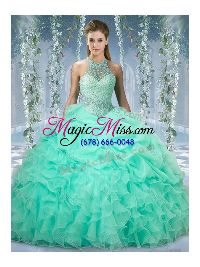 wholesale beautiful halter top beaded and ruffled sweet fifteen dresses  in mint