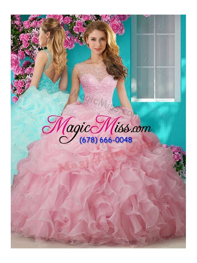 976b3b5e1d1 wholesale lovely beaded and ruffled big puffy quinceanera gown with see  through scoop ...