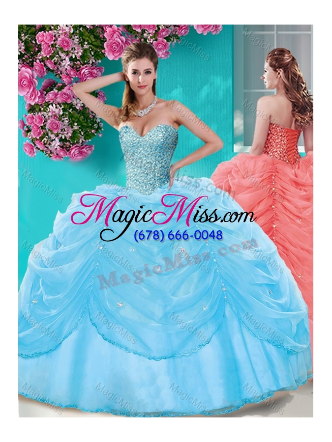 c5f1b64d2e7 wholesale popular beaded and pick ups big puffy quinceanera dress in light  blue ...