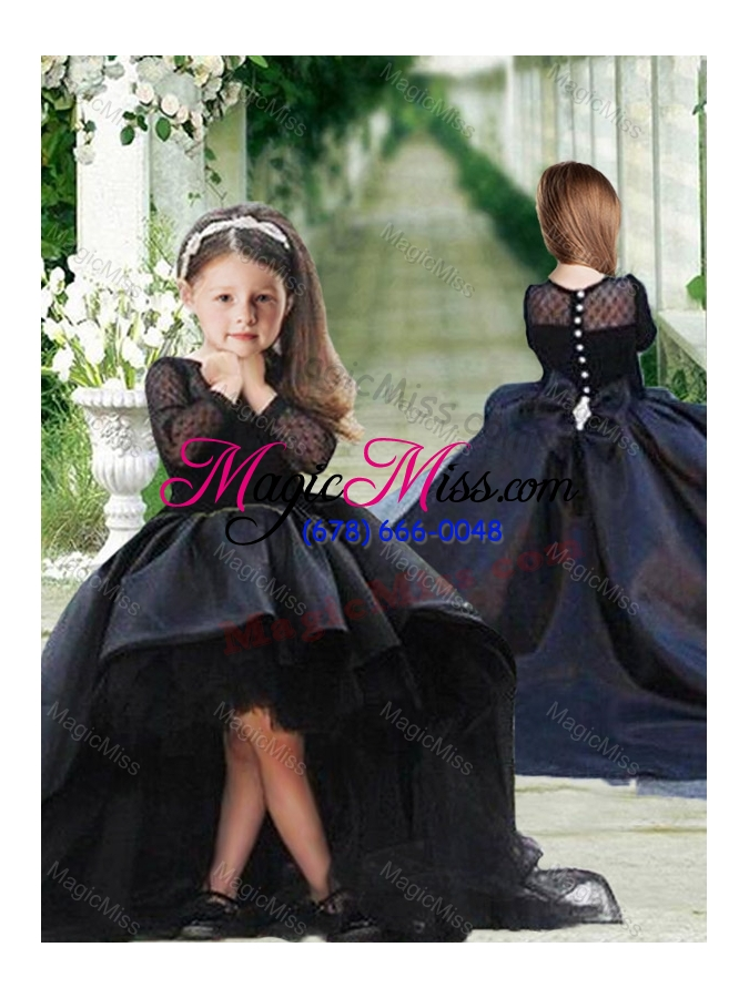 617aefc52ee2 wholesale romantic see through long sleeves flower girl dress in navy blue  ...