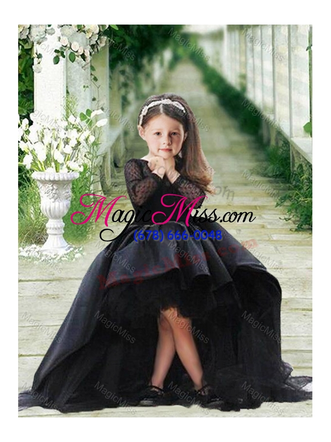 wholesale romantic see through long sleeves flower girl dress in navy blue