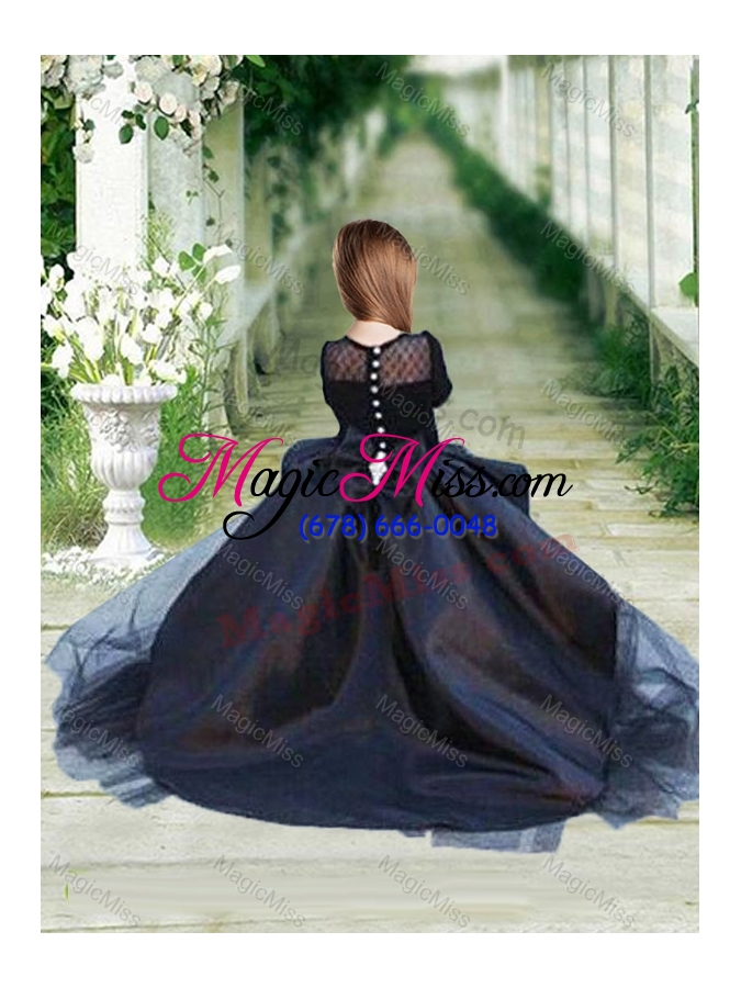 7a28756a7c04 ... wholesale romantic see through long sleeves flower girl dress in navy  blue
