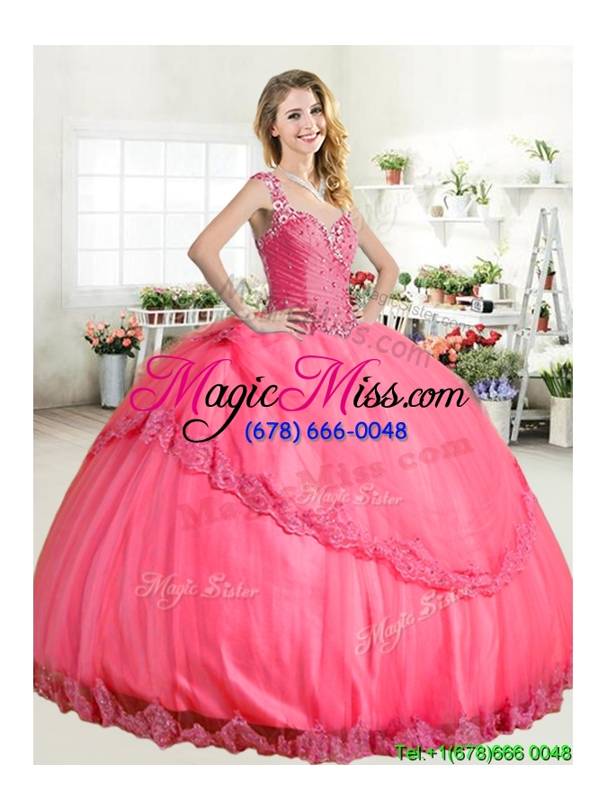 e3e08537d85 Lovely Straps Big Puffy Quinceanera Dress with Beading and Appliques ...