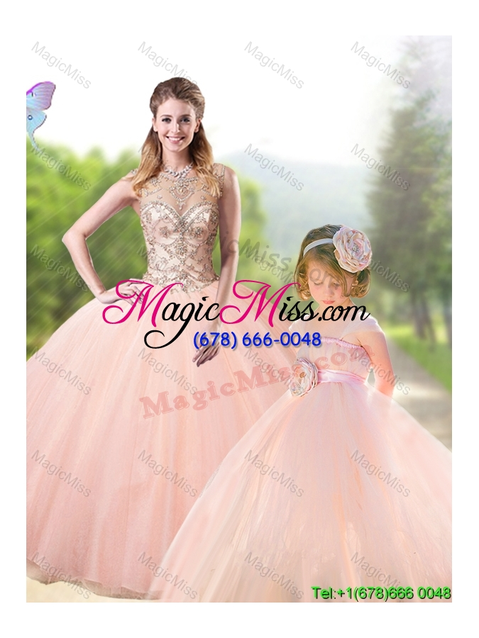wholesale new arrivals see through peach tulle princesita quinceanera dresses with beading