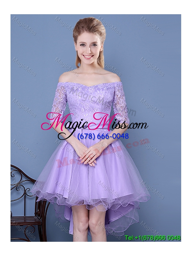 wholesale gorgeous tulle and taffeta half sleeves lavender dama dress with off the shoulder