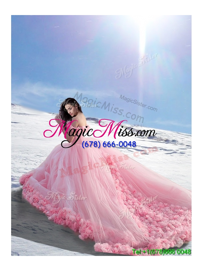 wholesale beautiful off the shoulder cap sleeves tulle quinceanera dresses with hand made flowers