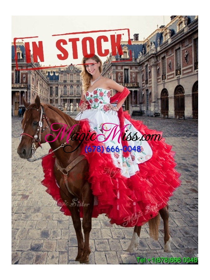 wholesale luxurious white and red quinceanera dresses with ruffled layers and embroidery