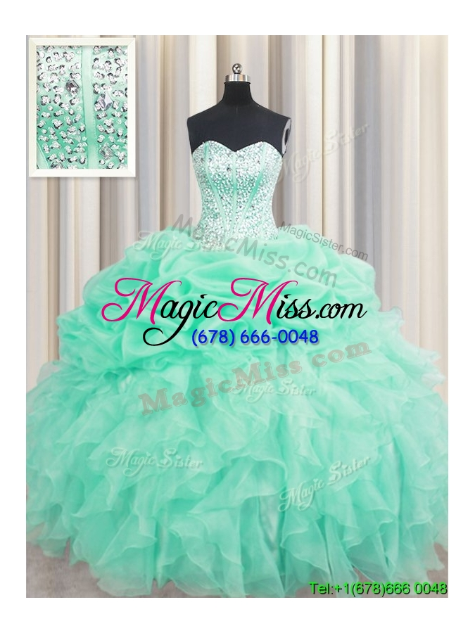 wholesale fashionable visible boning mint quinceanera dress with beaded bodice and ruffles