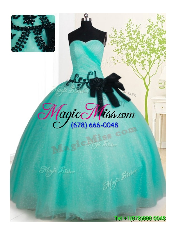 wholesale top seller big puffy turquoise quinceanera dress with bowknot and beading