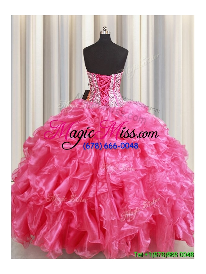 wholesale best selling visible boning beaded bodice and ruffled quinceanera dress in hot pink