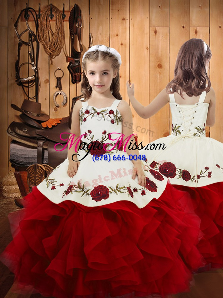 Low Price Ball Gowns Little Girl Pageant Gowns Wine Red Straps Satin ...