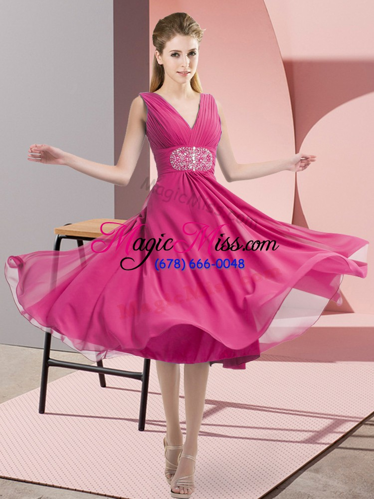 wholesale knee length empire sleeveless hot pink bridesmaids dress side zipper