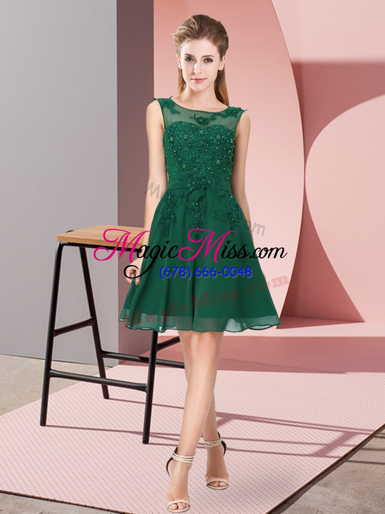 wholesale enchanting dark green scoop zipper appliques wedding party dress sleeveless