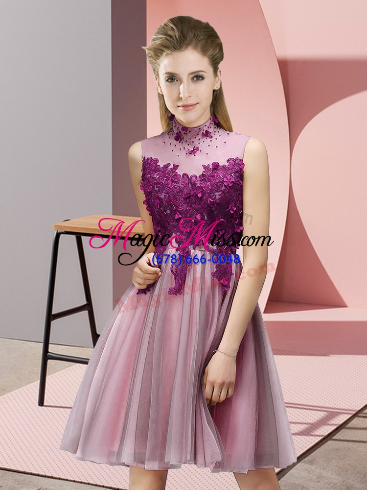 wholesale sleeveless appliques lace up bridesmaid dresses