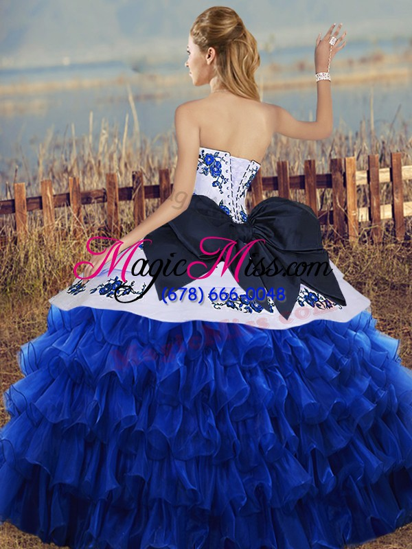 wholesale organza sweetheart sleeveless lace up embroidery and ruffled layers and bowknot quinceanera gowns in turquoise