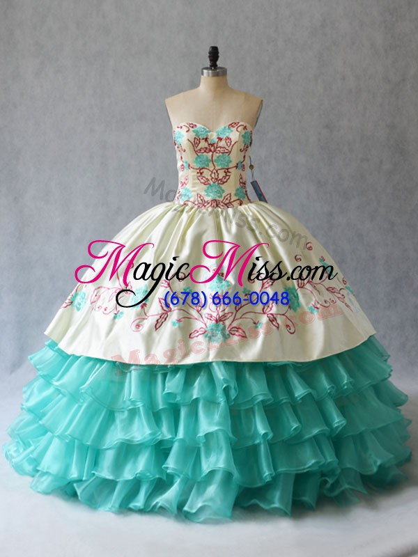 wholesale fashionable aqua blue sweetheart lace up embroidery and ruffled layers quince ball gowns sleeveless