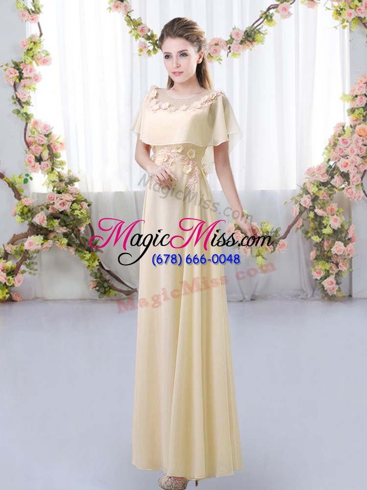 wholesale edgy light yellow chiffon zipper scoop short sleeves floor length bridesmaid gown appliques