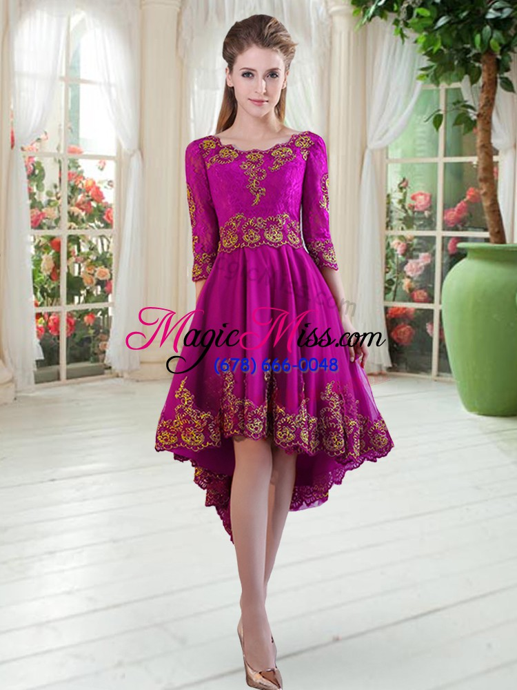 wholesale pretty purple scoop neckline embroidery prom party dress long sleeves lace up
