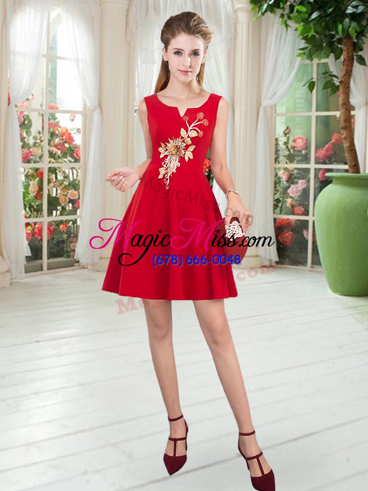wholesale fitting red scoop zipper appliques homecoming dress sleeveless