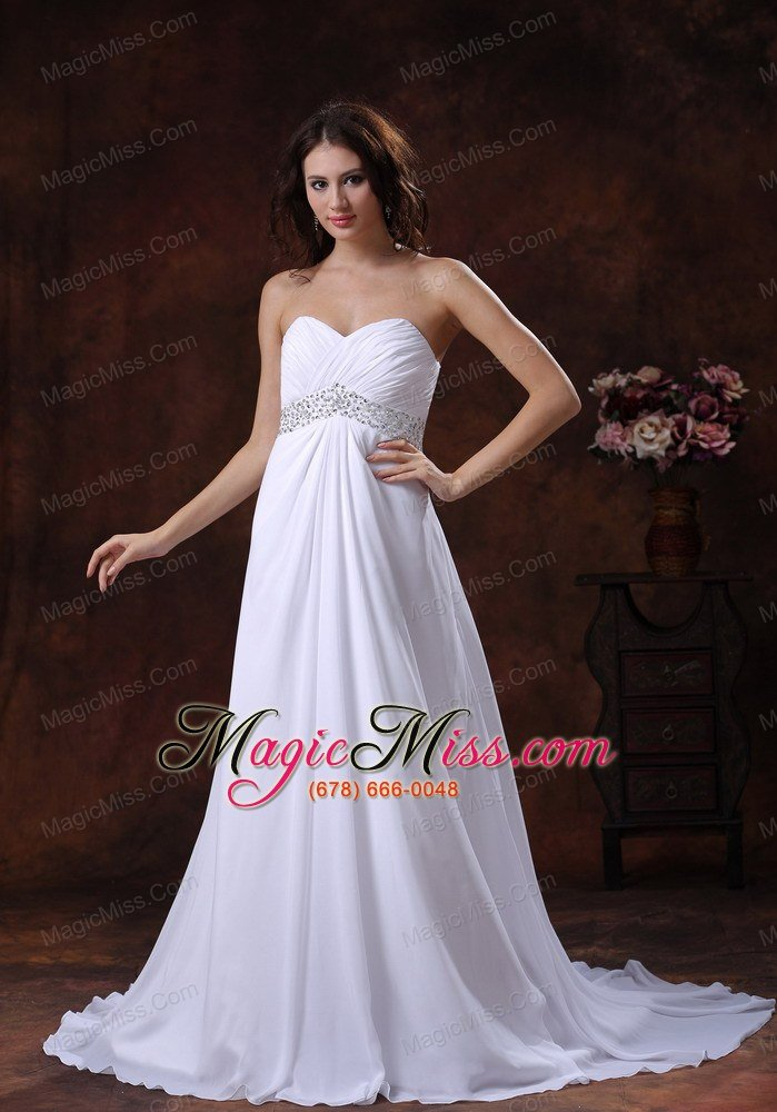 wholesale beaded decotare waist white sweetheart wedding dress with