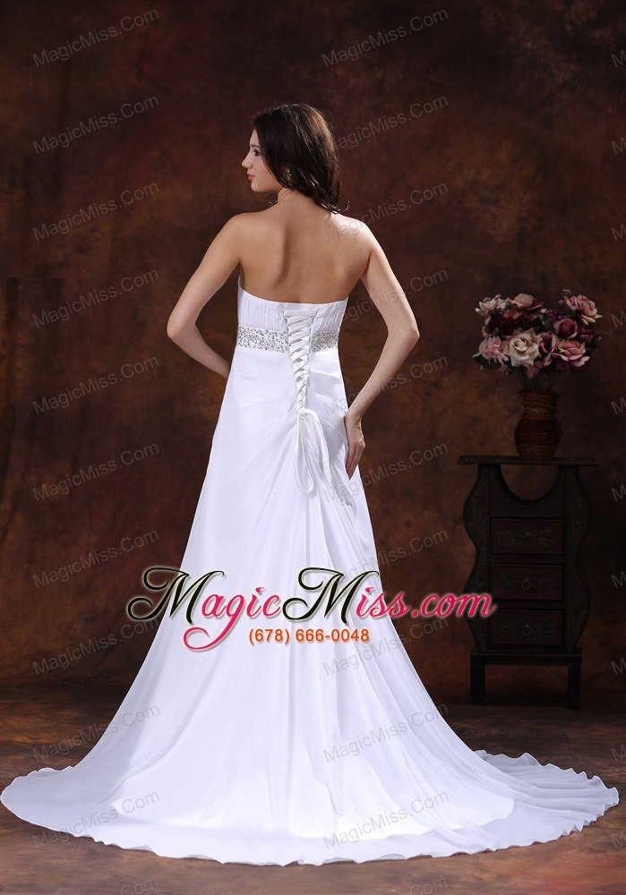 Beaded decotare waist white sweetheart wedding dress with for Discount wedding dresses arizona