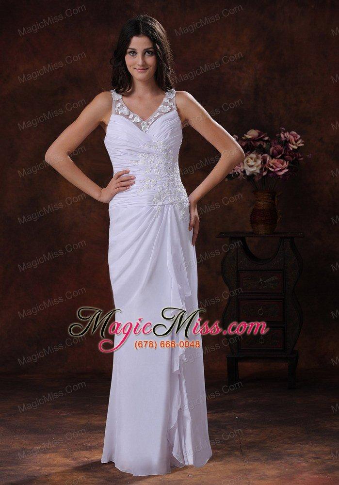 Tombstone Arizona Wedding Dress With White V-neck Chiffon Appliques ...