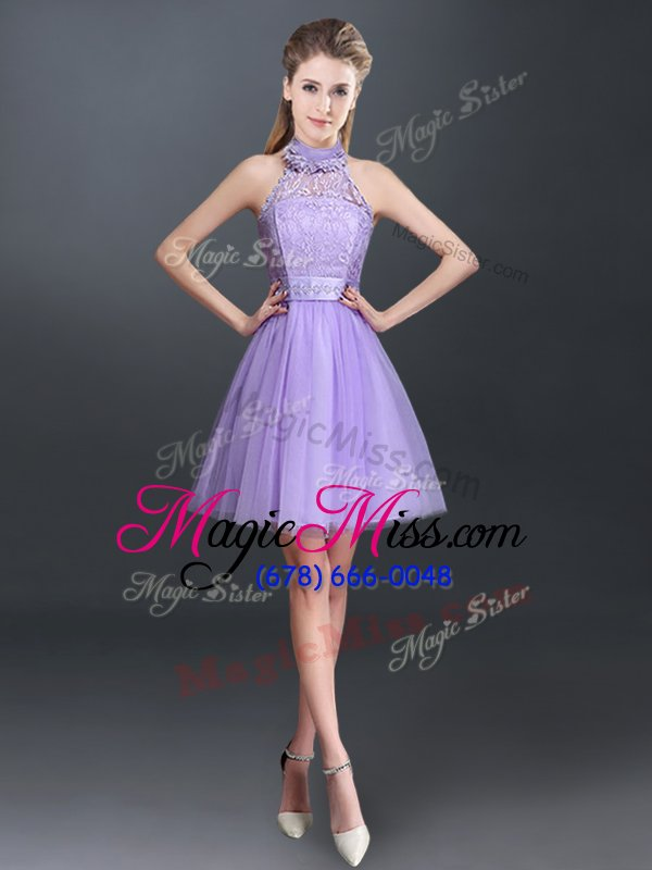 Eye-catching Halter Top Sleeveless Tulle Quinceanera Dama Dress Lace ...