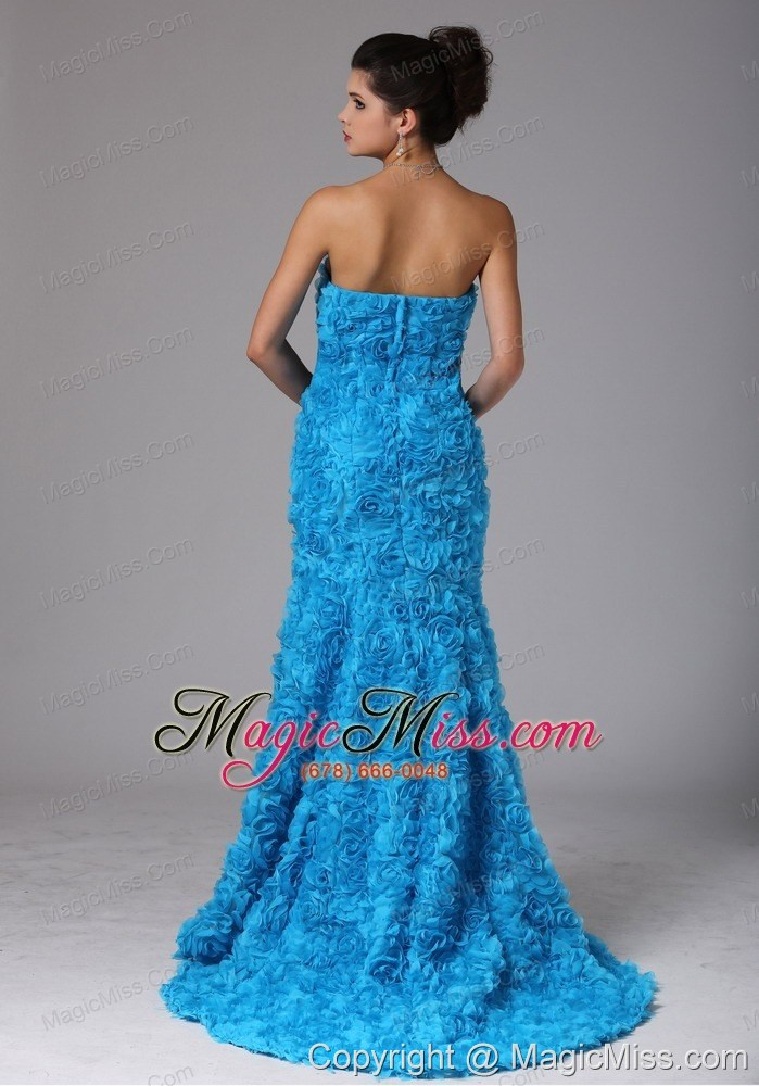 Hawaii City Fabric With Rolling Flower Baby Blue Beading Prom Dress ...