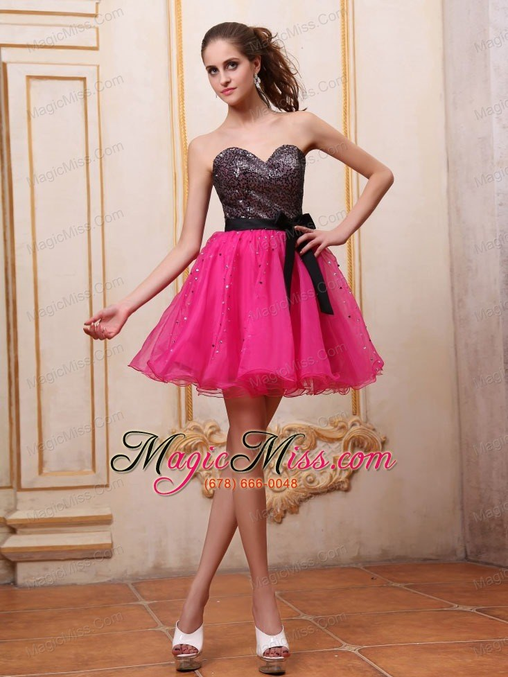 Hot Pink Prom / Cocktail Dress With Sequin and Black Bowknot Mini ...
