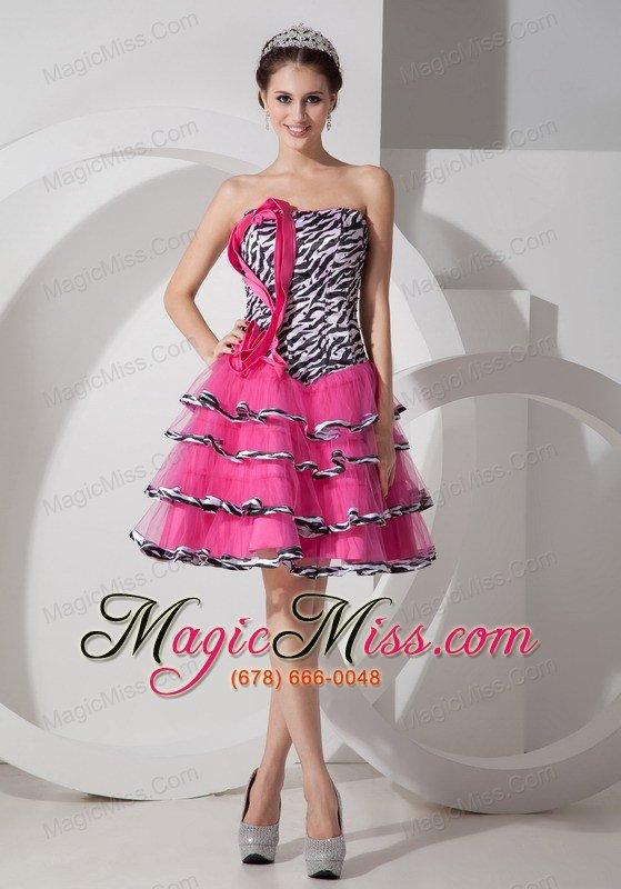 Sweet Zebra Print Strapless Short Prom Dress Mini-length - US$116.25