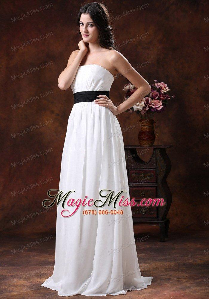 Custom Made White Chiffon Brush Train Wedding Dress With Black Belt ...