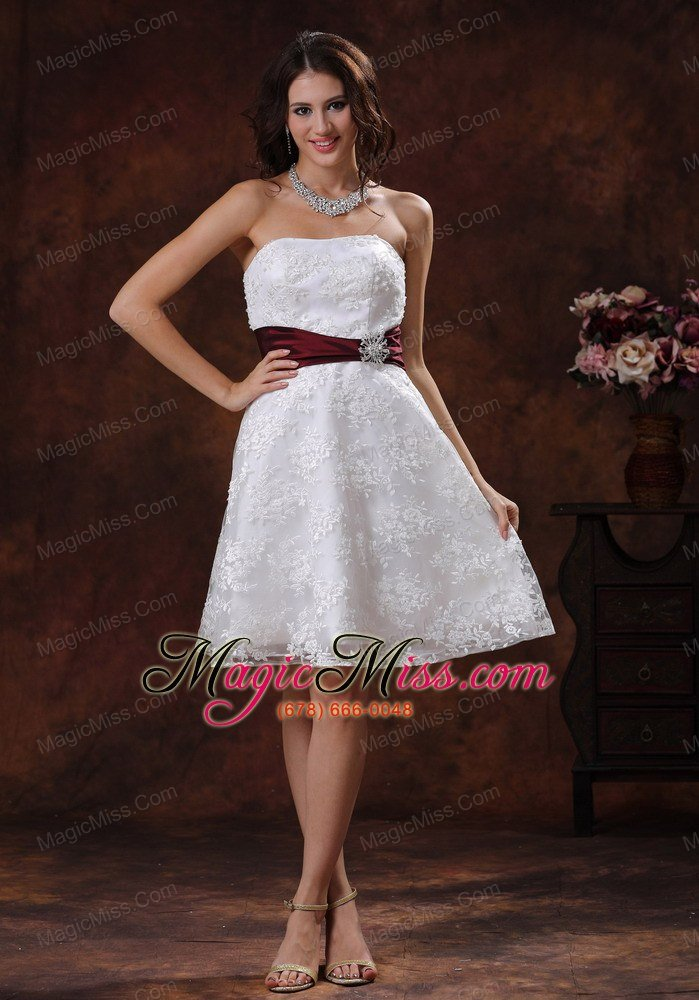 Exceptional Wholesale Lace Over Shirt Elegant Short Wedding Dress With Wine Red Belt In  Selma Alabama ...