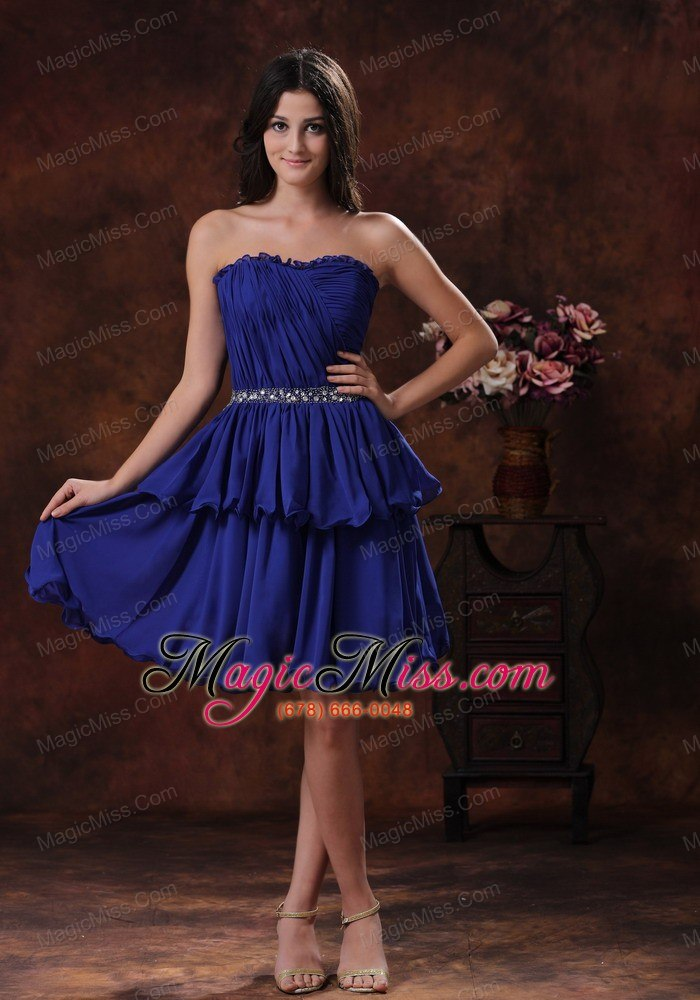 Mini Length Navy Blue Chiffon Short Prom Dress For Prom