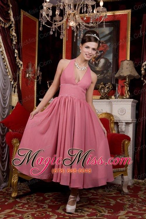 Light Pink A-line / Pricess Halter Tea-length Chiffon Beading Prom ...