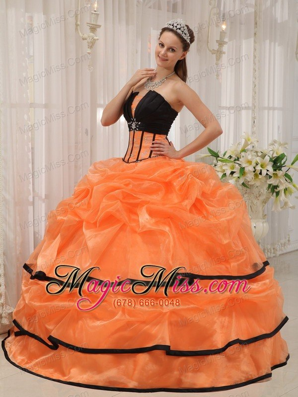 Orange and Black Ball Gown Strapless Floor-length Satin and Organza ...